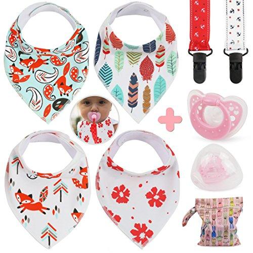 Idefair (TM) Baby bandana Drool bavaglini set per bambina, confezione da 4bavaglini + 2+ 1clip ciuccio ciuccio + impermeabile sacchetto regalo, set regalo per bambini Ideali per Drooling e dentizione