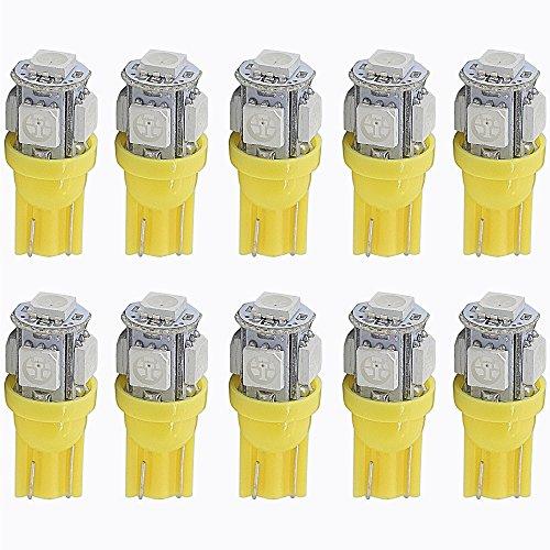 T10 W5W Carré jaune Intérieur Ampoule à LED Blanc chaud Dôme