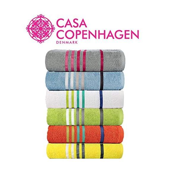 Casa Copenhagen Exotic 500 GSM Cotton 6 Pcs Hand Towel Set - Nimbus Grey/Blush Blue/Snow White/Lime Green/Orange/Butter Yellow