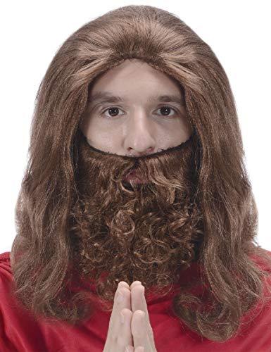 Generique - Perücke mit Bart im Jesus-Stil für Herren