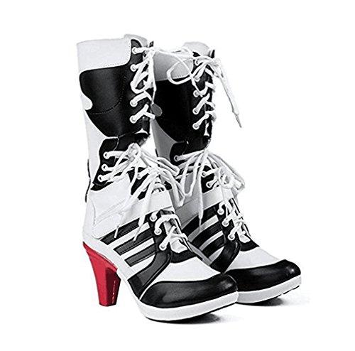 es Cosplay Schuhe Cosplay Kostüm Stiefel (weiß, EU 42) (Harley Quinn Kostüm Einfach)