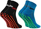 Rainbow Socks - Donna Uomo Neon Calze Sportive Antiscivolo - 2 paia - Nero Blu - Tamaño UE 36-38
