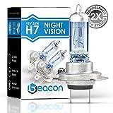 Beacon H7 Night Vision Scheinwerferlampe, Passt in alle PKW mit H7 Lampen PX26D Sockel (12V 55W) für Abblendlicht und Fernlicht