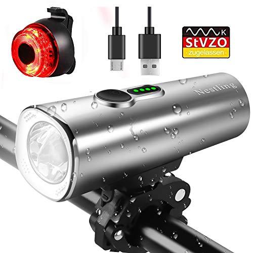 Nestling LED Fahrradlicht Set, StVZO Zugelassen 600 Lumen USB Wiederaufladbare LED Fahrradbeleuchtung set,IPX5 Wasserdicht LED Frontlicht und Rücklicht,2600mAh Samsung Li-ion Licht für Fahrrad