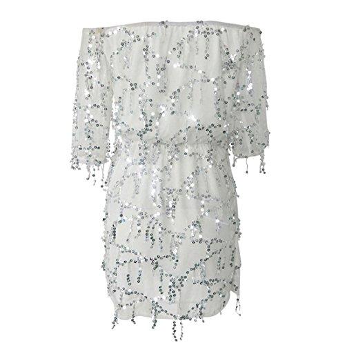 Vertvie Damen Pailettenkleid Schulterfrei Trägerlos Kleid Sommer Partykleid Minikleid Abendkleid Strandkleid mit 3/4 Ärmel Weiß
