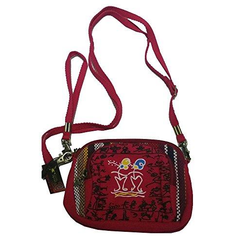 National Style Tasche one Schulter Aslant Damen-Taschen Handtasche New Handytasche Coin Purse Mini Wave Paket Damen Tasche Mehrfarbig rot (New-wave-tasche)