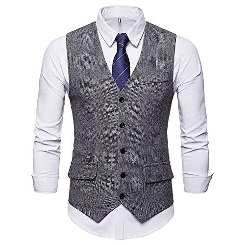 Weste Slim Fit Formelle Business Smoking Mantel, Männer Blazer für Hochzeit und Party Casual Schlanker Knopf-Hochzeitsfest-Kleid Vest Jacke Suit Regular Fit Mens Top Khaki S-XXL ()