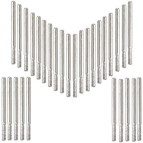 cnbtr 3mm Vástago Dia Joya de la plata Cylindrial recubrimiento de diamante punta de carburo herramienta taladros de cristal 30unidades