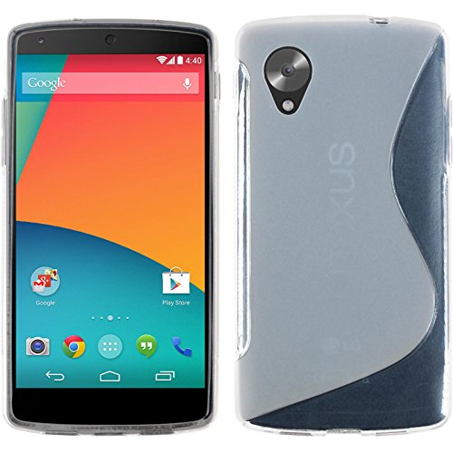 PhoneNatic Case kompatibel mit Google Nexus 5 - Clear Silikon Hülle S-Style + 2 Schutzfolien