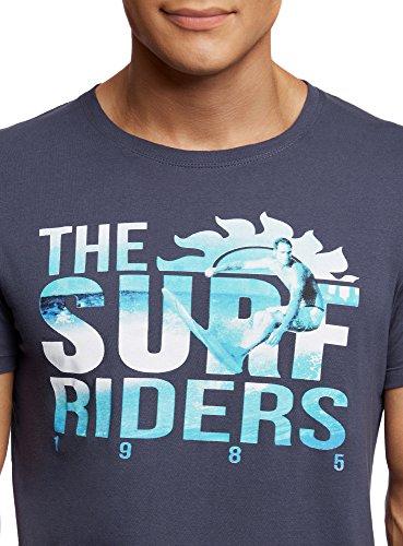 oodji Ultra Herren T-Shirt mit Druck Blau (7973P)
