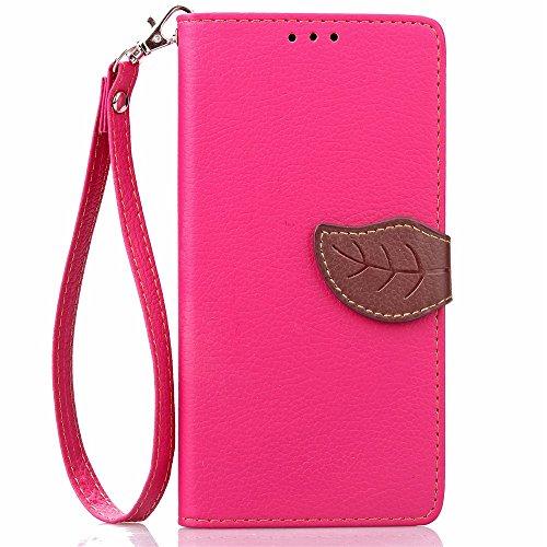 [A4E] Handyhülle passend für LG G5 Kunstleder Tasche, Flip Cover, seitlicher Magnetverschluss, Standfuß, Kreditkartenfächer, Handschlaufe mit floralem Blatt Muster (magenta, braun)