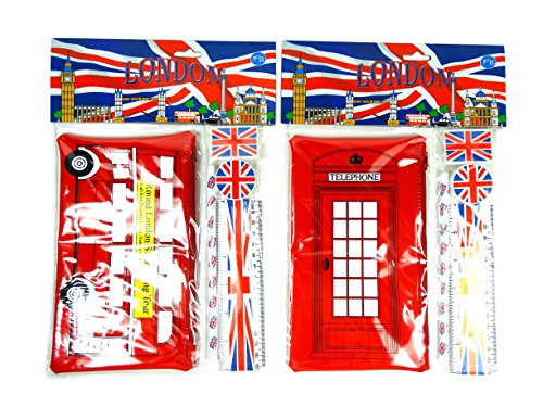 School Kits and Pencil Cases - London Red Bus and Telephone Pencil Cases and Union Jack Accessories (Pack of 2 Sets, One of Each) -