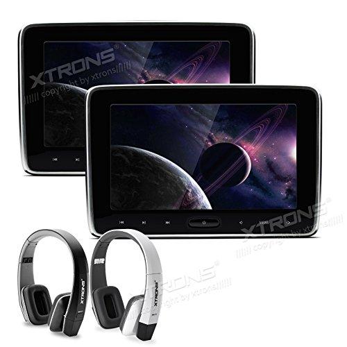 XTRONS® 2x10 Zoll Tragbarer Auto Kopfstütze DVD CD Player HD Display 1024*600 USB SD HDMI Slot mit 2 Kopfhörer (10 Zoll Dvd Cd Player Für Auto)