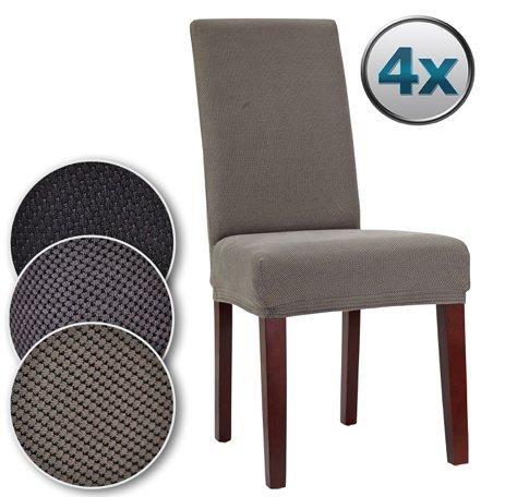Bellboni Stuhlhussen, strapazierfähige, hochwertige Stuhlbezüge aus starkem Stoff, Stuhlüberzüge, Hussen passend für viele Stuhlgrößen elastisch, bi-elastic, 4 Pack, elastic grey / grau