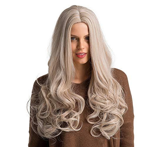 PinkLu Perücken Blond Mittellang,Gold Oder Braune Damen HitzebestäNdige Kunsthaar Mittellanges Lockiges Haar 65cm Elegante Perücke