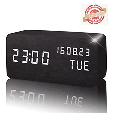 Led Alarm Clock,Wooden LED Digital Alarm Clock, Displays Time Date Week And Temperature, Cube Wood-shaped Sound Control Desk Alarm Clock for Kid, Home, Office, Daily Life, Heavy Sleepers (Black)