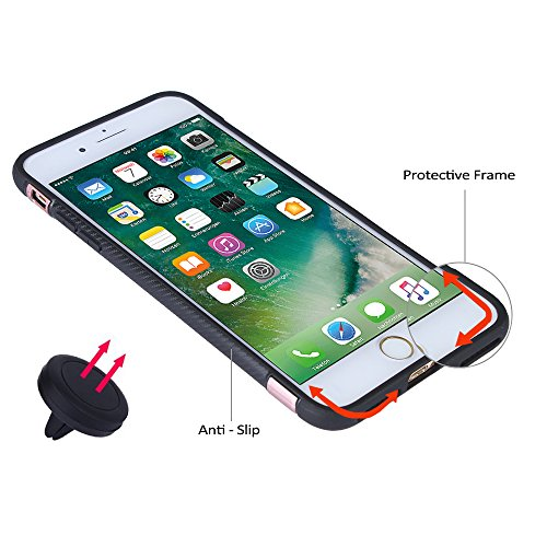Techvibe iPhone 7case, slim Drop Protection cover, anello grip Holder supporto posteriore, magnetico cerchio con Air Vent Magnetic Car Vent Mount per iPhone 7(11,9cm) nero Black Rose Gold