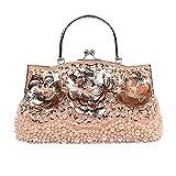 Tclothing Blumen Handtasche Freizeit Damen Purse mit Kette Vintage Abendhandtasche Clutch Tasche Festliche Party Tasche Stylischer Frauentasche Elegant Lotus Umhängetasche