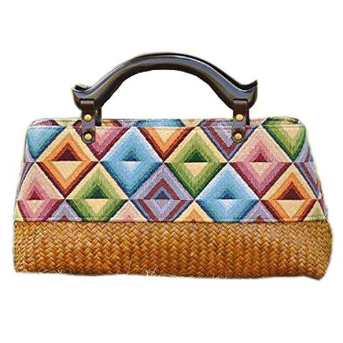 ricamo a mano maglia / tessere borsa di bambù rattan paglia / borse a mano/borse a spalla pattern 1 tipo giallo