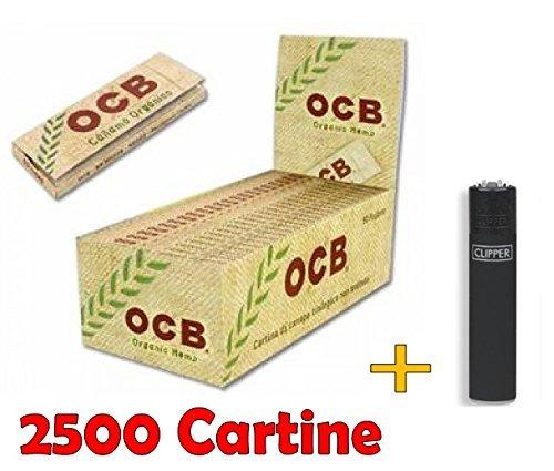 IRPot - BOX DA 50 LIBRETTI CARTINE OCB ORGANIC HEMP CORTE CANAPA BIOLOGICA + ACCENDINO CLIPPER