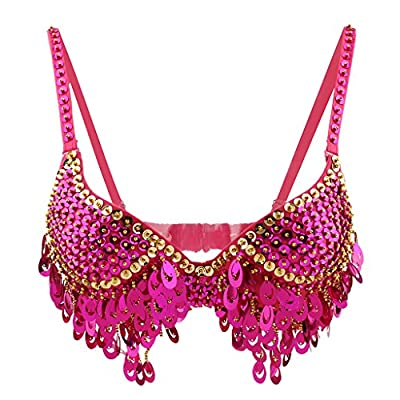 Phenovo Belly Dance Beaded Bra Sequins Top Sexy Dancing Singer Costume Tassels Pink