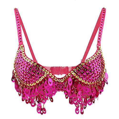 Phenovo Belly Dance Beaded Bra Sequins Top Sexy Dancing Singer Costume Tassels Pink