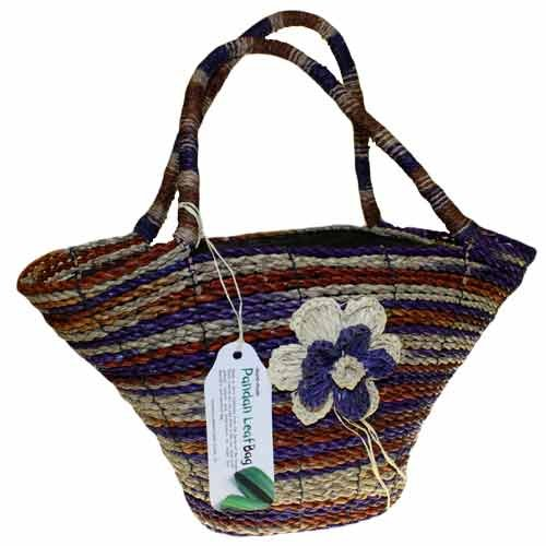 Natural Handle Rice Hat Pandan Leaf bag, Pink/Rust - Lilac/Rust