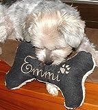 Hunde Spielzeug Kissen Knochen Hundeknochen Quitscher schwarz Größe XS S M L oder XL mit Name Wunschname Hundekissen