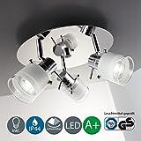 LED Bad Deckenleuchte Deckenlampe schwenkbar spritzwasser geschützt IP44 Badlampe Badezimmer Leuchte Deckenstrahler Spotleuchte GU10 3 x 5W 400lm warmweiß chrom weiß