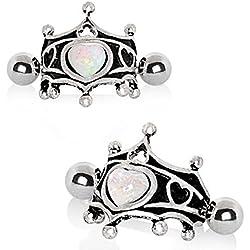 WildKlass Jewelry - Pendientes de Acero Inoxidable 316L, diseño Medieval de Corona de corazón