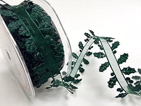 Bertie nœuds de feuilles de houx Sheer centré 38mm Ruban sur une longueur 3m (Note: (S / S Sheer)