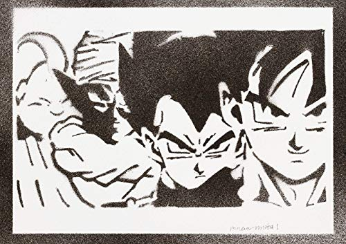 Dragonball Goku Vegeta Piccolo Majin Bu Poster Plakat Handmade Graffiti Street Art - Artwork -