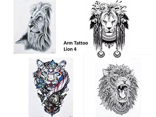 OO SCHWARZ UND WASSERFARBEN BUNT Arm Oberarm Tattoo Fake Tattoo Lion 4 (Lion Tattoo)