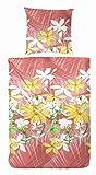 Primera Landhaus Sommer Bettwäsche Renforce Blumen gelb 155x220cm, 100% Baumwolle, hochwertige Qualität, Oeko Tex Standard 100