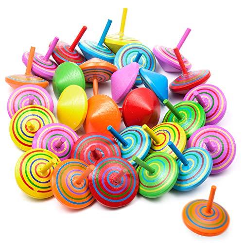 Vordas 30 Stück Spielzeugkreisel aus Holz Farbenfroher Bemalung Kreisel Spielzeug Holzkreisel für Kinder, EIN Gutes Spielzeug für Partytasche (Zufällige Farben)