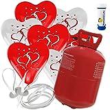 30 Herz Luftballons mit Helium Ballon Gas Motiv Herzen Hochzeit Valentinstag Komplettset + Gratis Doriantrade Seifenblasen (Rot/Weiß)