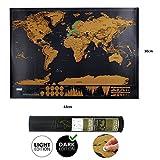 Mappa del Mondo da Grattare Edizione Deluxe Multicolore Scratch Mappa,Poster Personalizzato per tracciare i viaggi,Share e ricorda il tuo viaggio Adventures (nero) 43x30CM
