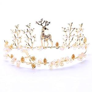 LILIMO Bridal Tiara Krone Schweißen Hirsch Crown Gold Animal Crown Hochzeit Zubehör Krone Haarschmuck