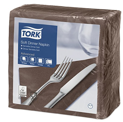 Tork 477774 Soft Dinnerservietten Braun / Papierservietten 3 lagig / Ideale Qualität und Größe für ein Abendessen / 12 x 100 (1200) Servietten / 39 x 39 cm (B x L)