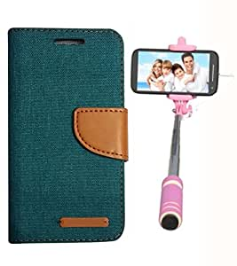 Aart Fancy Wallet Dairy Jeans Flip Case Cover for MicromaxQ380 (Green) + Mini Fashionable Selfie Stick Compatible for all Mobiles Phones By Aart Store