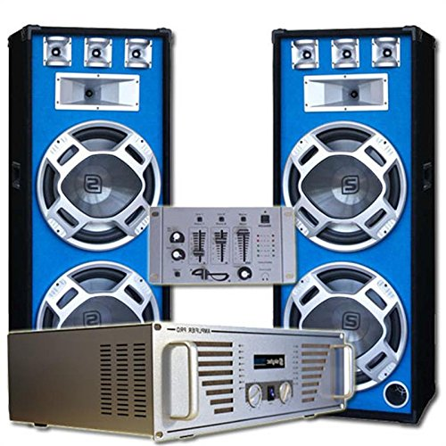 DJ Komplett-Set Bouncer Verstärker mit 2000W Boxen & Mixer(inkl. Kopfkörer & Kabelset, musiksensitiver LED-Lichteffekt, für zu bis 500 Personen) (Wireless-bouncer)