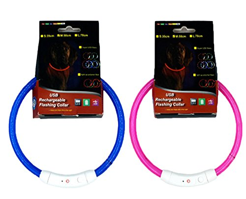 ZAMAC LED Hund/Katzenhalsband, Flashing LED Hundehalsband Wiederaufladbare Light Up Haustier Katze Sicherheitshalsband und einstellbare Größe Fit für alle Hund, Katze und Haustier - 2 Stück