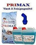 Primax Set 11-2 x 10 Liter Flüssigwaschmittel blau + 10 kg Waschpulver mit Microfasertuch