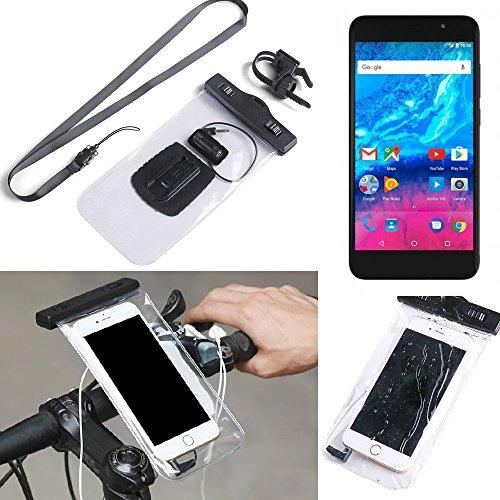 K-S-Trade® pour Archos Core 55P Support Vélo Téléphone Mobile Titulaire Guidon Mont Imperméable à l'eau Connecteur Étanche Casque Moto Transparent 1x