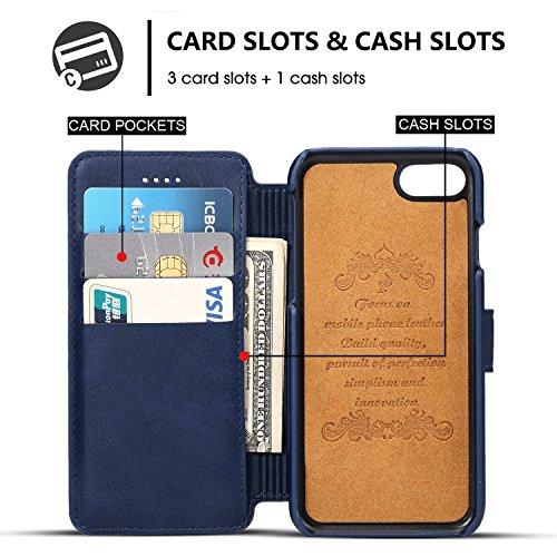 iPhone Case Hülle Kunst Leder Brieftasche mit Kartenfächer iPhone 6/6S/7/6 Plus/6S Plus/7 Plus 4,7/ 5,5 Zoll Geldscheinfach Premium Börse Tasche Handy Schutzhülle,6 Farben Blau