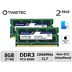 Timetec Hynix IC compatible with Apple 8GB Kit (2x4GB) DDR3 PC3-8500 1066MHz memory upgrade for iMac 20 inch /21.5 inch/24 inch /27 inch, MacBook Pro 13 inch/ 15 inch/ 17 inch, Mac mini 2009 2010