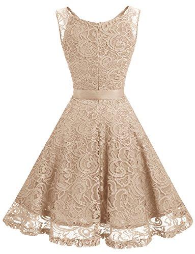 Dressystar Brautjungfernkleid Ohne Arm Kleid Aus Spitzen Spitzenkleid Knielang Festliches Cocktailkleid Champagne