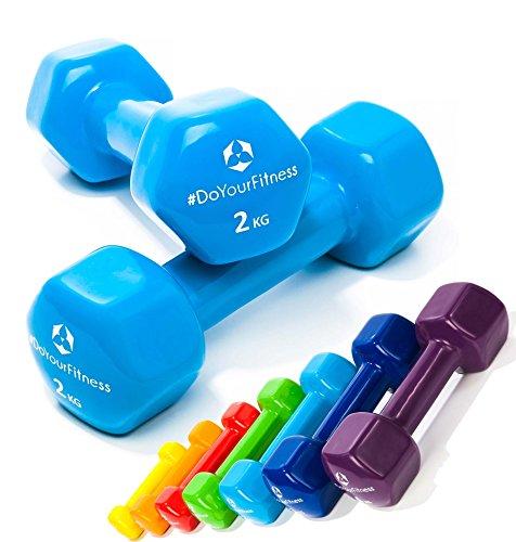 2er-Set Hanteln 0,5kg, 0,75kg, 1kg, 1,5kg, 2kg, 3kg & 4kg / rutschfeste & griffige Vinyloberfläche »Hexagon« Kurzhanteln (Aerobic-Gewichte) in verschiedenen Gewichts- und Farbvarianten. Das Hantelset besteht aus 100% Eisen - Die Gewichte bzw. das Kurzhantel-Set eignen sich für Gymnastik, Fitnesstraining, Physiosport & Heimtraiing. Das Hantelpaar ist schön griffig, einfach zu reinigen & resistenz gegen Schweiß & Feuchtigkeit / 2kg, himmelblau Eisen-hanteln