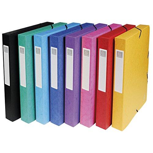 Exacompta - Réf. 50400E - Boite de Classement à Élastiques Exabox - Dos 40mm - Format 25x33cm pour Documents A4 - Carte Lustrée 600g/m² - Coloris aléatoire