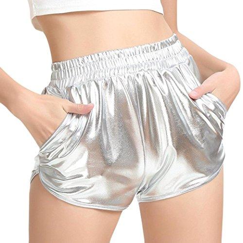 Pailletten Shorts Luckycat Shorts Damen Sommer Locker Hohe Taille Einfarbige Tasche Leder Shorts Hose Sommerhosen Pants Hosen (Silber, Small)